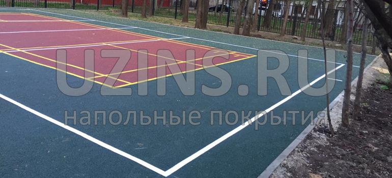 Бесшовное покрытие из резиновой крошки на детской площадке