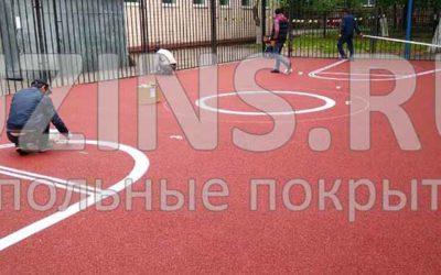 Бесшовное резиновое покрытия в Спецшколе №1 города Москвы
